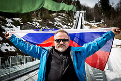 Iztok Pergarec - Ič posing with Slovenian flag at preparation of Planica Hill 1 week before FIS Ski Flying World Cup, on March 14, 2017 in Planica, Slovenia. Photo by Vid Ponikvar / Sportida