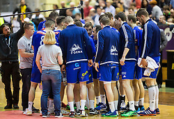 Branko Tamse, head coach of RK Celje PL with players during handball match between RK Gorenje and RK Celje Pivovarna Lasko in 5th Round of 1st NLB Leasing Slovenian Champions League 2015/16, on May 11, 2016, in Red arena, Velenje, Slovenia. Photo by Vid Ponikvar / Sportida