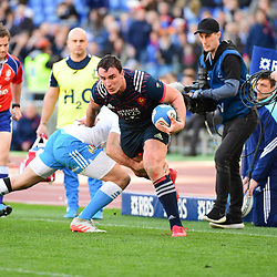 (R-L) Louis Picamoles of France takes on Angelo Esposito of Italy during the RBS Six Nations match between Italy and France at Olimpico Stadium on March 11, 2017 in Rome, Italy. (Photo by Dave Winter/Icon Sport)