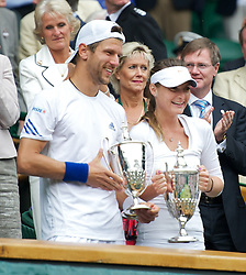 LONDON, ENGLAND - Sunday, July 3, 2011: Jurgen Melzer (AUT) & Iveta Benesova (CZE) celebrate winning the Mixed Doubles Final match on day thirteen of the Wimbledon Lawn Tennis Championships at the All England Lawn Tennis and Croquet Club. (Pic by David Rawcliffe/Propaganda)