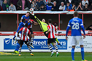 Christy Pym (30) of Exeter City gets his finger tips to the ball to divert it away from an attacking Carlisle player during the EFL Sky Bet League 2 match between Exeter City and Carlisle United at St James' Park, Exeter, England on 6 May 2017. Photo by Graham Hunt.