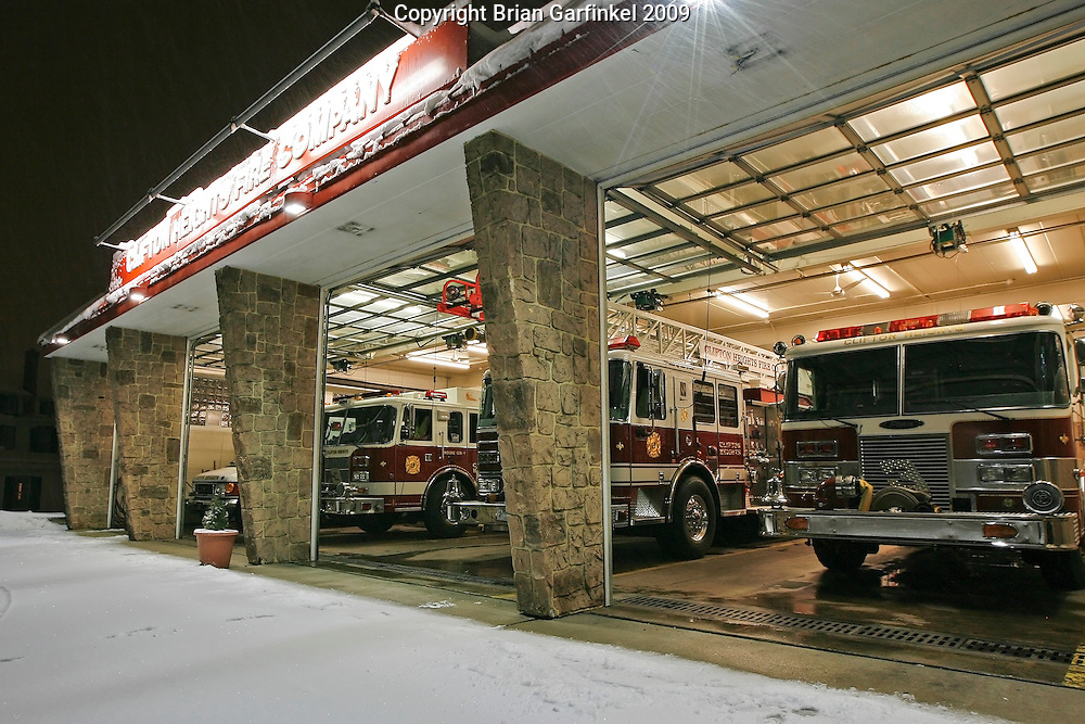 Clifton Heights, Pennsylvania - Front view of The Clifton Heights Fire Company a night after a snowfall