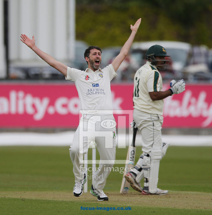 Graham Onions (l) of Durham appeals for the wicket of Samit Patel of Nottinghamshire during the LV County Championship Div One match at Emirates Durham ICG, Chester-le-Street<br /> Picture by Simon Moore/Focus Images Ltd 07807 671782<br /> 10/05/2015