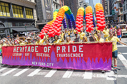 June 25, 2017 - New York, NY, United States - Hundreds of thousands of spectators turned out to view the 48th Annual Heritage of Pride March. The annual event featured politicians, gay-friendly corporate sponsors and marching units representing LGBTQ advocacy groups from the New York Metro area and from across the nation. (Credit Image: © Albin Lohr-Jones/Pacific Press via ZUMA Wire)