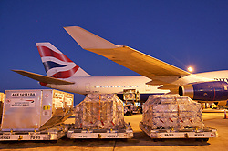 Cargo being taken to a British Airways plane for departure from Houston's Intercontinental Airport