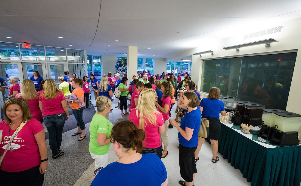 Some of the over 300 women who participated in the first ever OU Women Portrait gathered in Schooner Center before the photo was captured Tuesday, June 23, 2015.  Photo by Ohio University  /  Rob Hardin