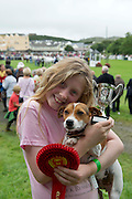 15/08/2013 Camilla Coyne from Letterfrack and her Jack Russel Bramble  who won  the under 15 handler in the dog competition at the 90th Connemara Pony show in Clifden Co. Galway. Photo:Andrew Downes