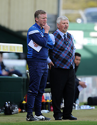 Yeovil Town's Coach Terry Skiverton and Yeovil Town's Manager Paul Sturrock- Photo mandatory by-line: Harry Trump/JMP - Mobile: 07966 386802 - 11/04/15 - SPORT - FOOTBALL - Sky Bet League One - Yeovil Town v Notts County - Huish Park, Yeovil, England.