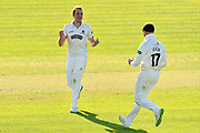 Wicket - Josh Davey of Somerset celebrates taking the wicket of Travis Head of Worcestershire during the Specsavers County Champ Div 1 match between Somerset County Cricket Club and Worcestershire County Cricket Club at the Cooper Associates County Ground, Taunton, United Kingdom on 20 April 2018. Picture by Graham Hunt.