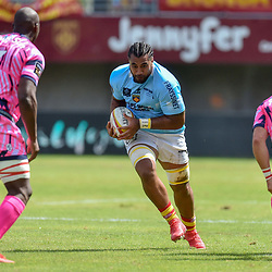 Genesis Mamea Lemalu of Perpignan during Top 14 match between Perpignan and Stade Francais on August 25, 2018 in Perpignan, France. (Photo by Alexandre Dimou/Icon Sport)