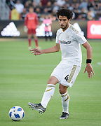 Los Angeles FC defender Omar Gaber (4) kicks the ball  during the game that ended in a 2-2 tie against New York City in a MLS soccer match in Los Angeles, Sunday, May 13, 2018. (Ed Ruvalcaba/Image of Sport)
