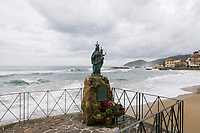 SANTA MARIA DI CASTELLABATE (CASTELLABATE), ITALY - 14 FEBRUARY 2018: A statue of Holy Mary, the saint protector of  Santa Maria di Castellabate (Castellabate), Italy, is seen here  on February 14th 2018.<br /> <br /> Santa Marina di Castellabate is part of the electoral college of Agropoli, in the Campania region (southern Italy) in which Franco Alfieri (Democratic Party, PD, Partito Democratico), politically active for the past 30 years, is running agains the 28-years old Alessia d'Alessandro (Five Stars Movement, M5S, Movimento 5 Stelle).<br /> <br /> The 2018 Italian general election is due to be held on 4 March 2018 after the Italian Parliament was dissolved by President Sergio Mattarella on 28 December 2017.<br /> Voters will elect the 630 members of the Chamber of Deputies and the 315 elective members of the Senate of the Republic for the 18th legislature of the Republic of Italy, since 1948.Santa<br /> <br /> The 2018 Italian general election is due to be held on 4 March 2018 after the Italian Parliament was dissolved by President Sergio Mattarella on 28 December 2017.<br /> Voters will elect the 630 members of the Chamber of Deputies and the 315 elective members of the Senate of the Republic for the 18th legislature of the Republic of Italy, since 1948.