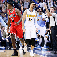 22 November 2016: Denver Nuggets guard Jamal Murray (27) celebrates during the Denver Nuggets 110-107 victory over the Chicago Bulls, at the Pepsi Center, Denver, Colorado, USA.