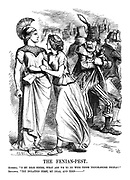 """The Fenian-Pest. Hibernia. """" O my dear Sister, what ARE we to do with these troublesome people?"""" Britannia. """"Try isolation first, my dear, and then - """""""