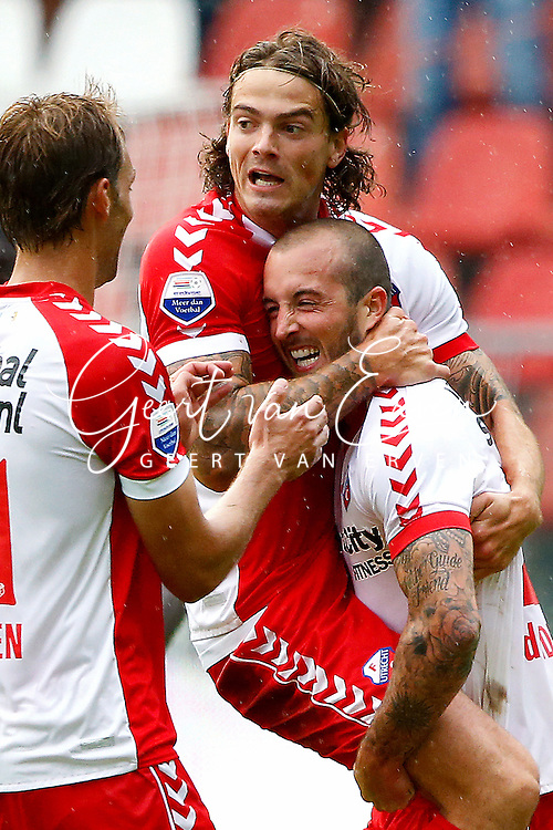 Onderwerp/Subject: FC Utrecht - Eredivisie<br /> Reklame:  <br /> Club/Team/Country: <br /> Seizoen/Season: 2013/2014<br /> FOTO/PHOTO: Steve DE RIDDER (R) of FC Utrecht celebrating his second goal with Dave BULTHUIS ( Davy BULTHUIS ) (C) of FC Utrecht and Willem JANSSEN (L) of FC Utrecht ( 2 - 0 ). (Photo by PICS UNITED)<br /> <br /> Trefwoorden/Keywords: <br /> #02 $94 &plusmn;1371811811150<br /> Photo- &amp; Copyrights &copy; PICS UNITED <br /> P.O. Box 7164 - 5605 BE  EINDHOVEN (THE NETHERLANDS) <br /> Phone +31 (0)40 296 28 00 <br /> Fax +31 (0) 40 248 47 43 <br /> http://www.pics-united.com <br /> e-mail : sales@pics-united.com (If you would like to raise any issues regarding any aspects of products / service of PICS UNITED) or <br /> e-mail : sales@pics-united.com   <br /> <br /> ATTENTIE: <br /> Publicatie ook bij aanbieding door derden is slechts toegestaan na verkregen toestemming van Pics United. <br /> VOLLEDIGE NAAMSVERMELDING IS VERPLICHT! (&copy; PICS UNITED/Naam Fotograaf, zie veld 4 van de bestandsinfo 'credits') <br /> ATTENTION:  <br /> &copy; Pics United. Reproduction/publication of this photo by any parties is only permitted after authorisation is sought and obtained from  PICS UNITED- THE NETHERLANDS