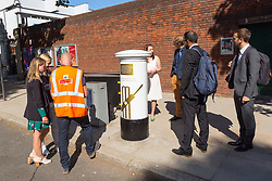 Royal Mail unveils a white-painted postbox outside Lords Cricket Ground with a plaque and graphics that celebrate England's ICC Cricket World Cup Victory. London, July 16 2019.
