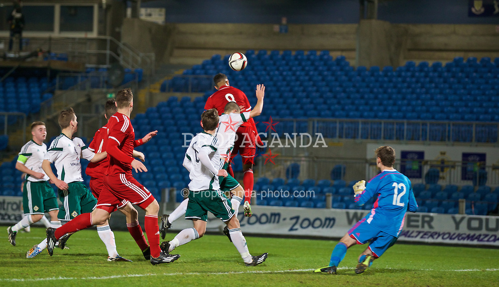 BALLYMENA, NORTHERN IRELAND - Thursday, November 20, 2014: Wales' captain Tyler Roberts scores the first goal against Northern Ireland during the Under-16's Victory Shield International match at the Ballymena Showgrounds. (Pic by David Rawcliffe/Propaganda)