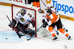 Corey Crawford of Chicago Blackhawks with Ryan Carpenter of Chicago Blackhawks and Kevin Hayes of Philadelphia Flyers during NHL game between teams Chicago Blackhawks and Philadelphia Flyers at NHL Global Series in Prague, O2 arena on 4th of October 2019, Prague, Czech Republic. Photo by Grega Valancic / Sportida