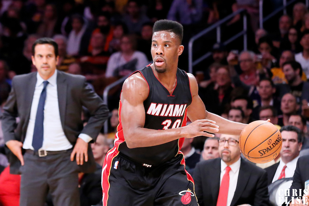 13 January 2014: Miami Heat guard Norris Cole (30) dribbles during the Miami Heat 78-75 victory over the Los Angeles Lakers, at the Staples Center, Los Angeles, California, USA.