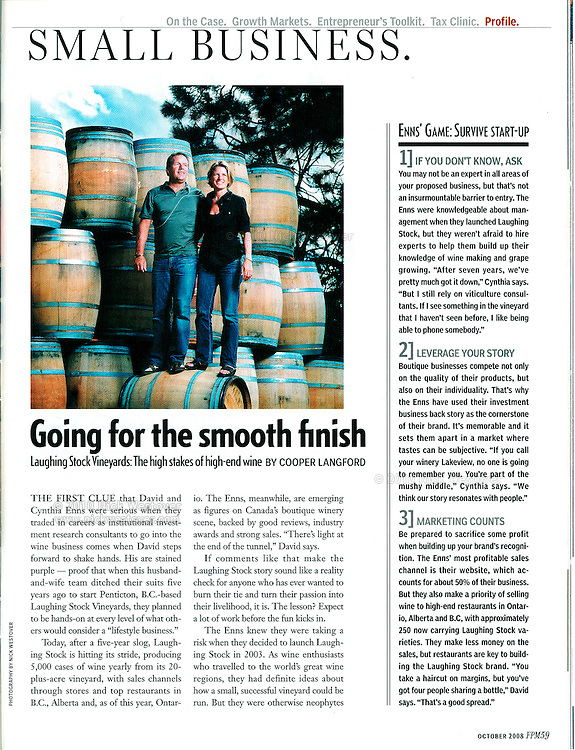 Laughing Stock Vineyards for the Financial Post Magazine