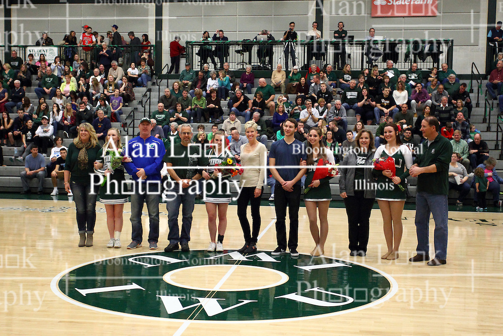 20 February 2016:  The cheer and dance seniors and their parents or escorts during an NCAA men's division 3 CCIW basketball game between the Elmhurst Bluejays and the Illinois Wesleyan Titans in Shirk Center, Bloomington IL