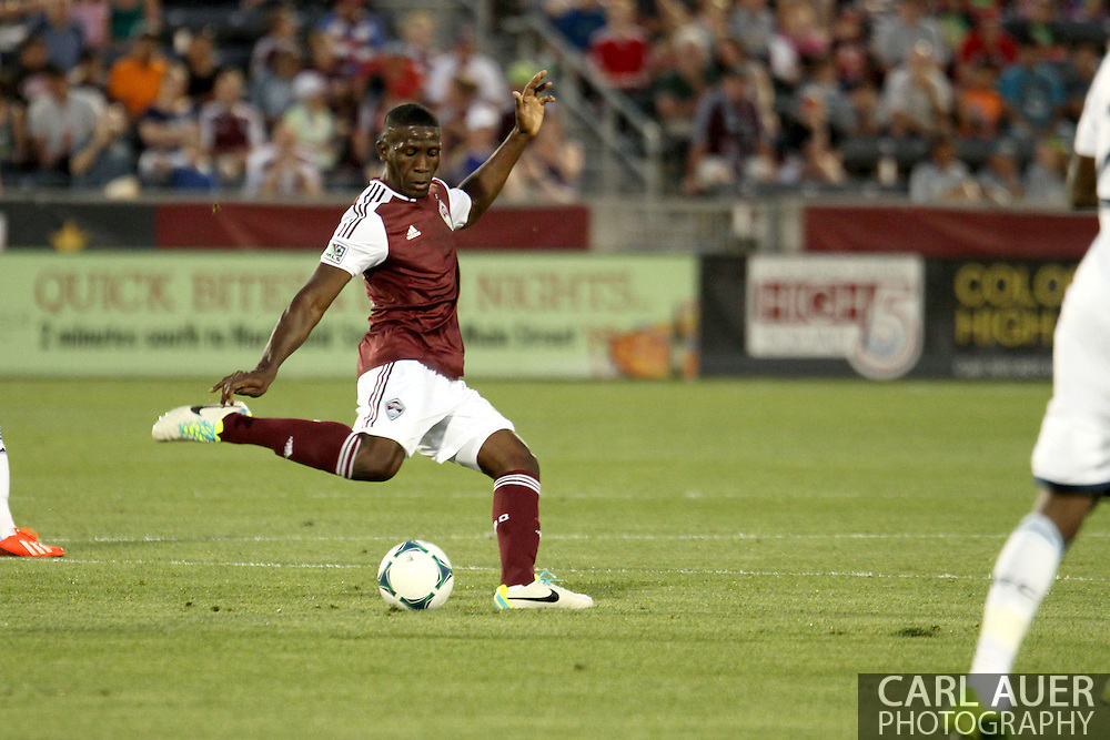 August 17th, 2013 - Colorado Rapids midfielder Hendry Thomas (12) winds up for a pass in the first half of action in the Major League Soccer match between the Vancouver Whitecaps FC and the Colorado Rapids at Dick's Sporting Goods Park in Commerce City, CO