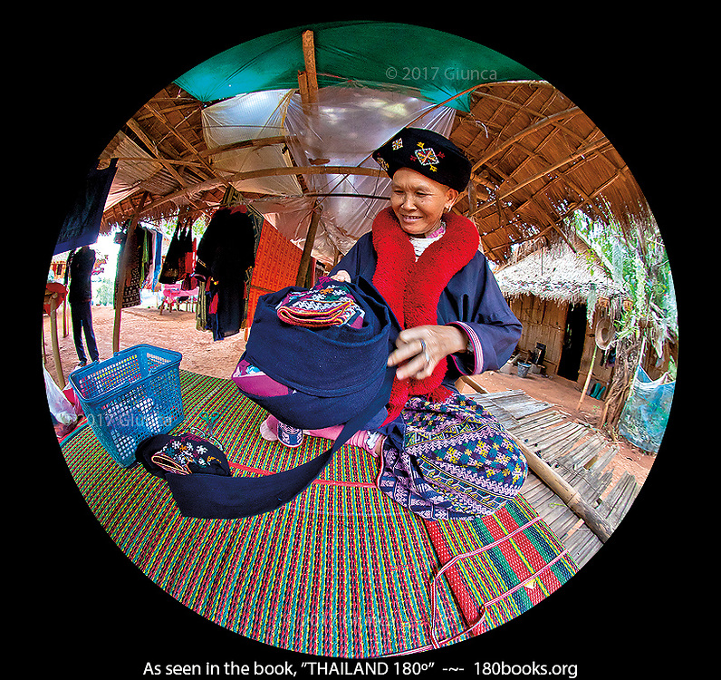 Mien (Yao) Tribe Woman Creating a Hat