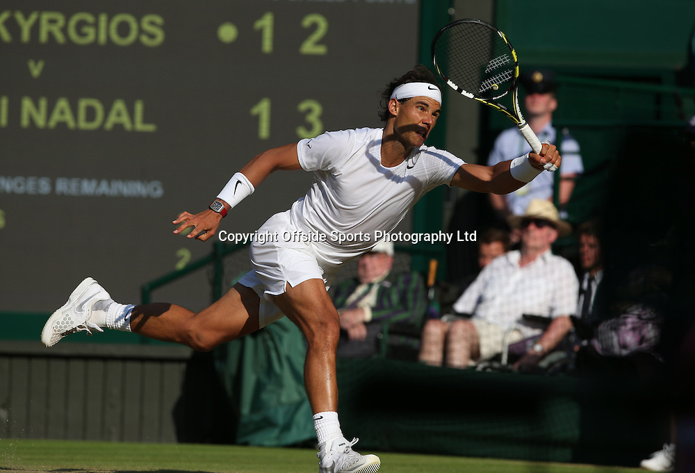 July 01 2014 Day  Eight: The Championships - Wimbledon 2014 <br /> Rafael Nadal in action against Kyrgios.<br /> Photo: Mark Leech