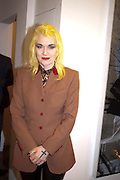 PAM HOGG, David Salle private view at the Maureen Paley Gallery. 21 Herlad St. London. E2. <br /> <br />  , -DO NOT ARCHIVE-&copy; Copyright Photograph by Dafydd Jones. 248 Clapham Rd. London SW9 0PZ. Tel 0207 820 0771. www.dafjones.com.