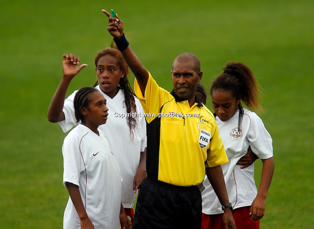Referee Gerald Oiaka. OFC U-17 Women's Championship, New Caledonia v New Zealand, Centre Park Mangere, Wednesday 11th April 2012. Photo: Shane Wenzlick