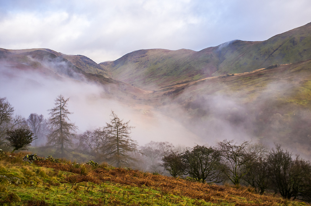 Troutbeck, Kirkstone Pass, Cumbria, The Lake District, autumn cloud and derelict barn