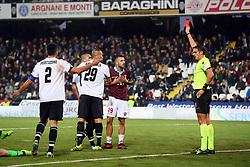 """Foto /Filippo Rubin<br /> 12/11/2017 Cesena (Italia)<br /> Sport Calcio<br /> Cesena - Salernitana - Campionato di calcio Serie B ConTe.it 2017/2018 - Stadio """"Dino Manuzzi""""<br /> Nella foto: CARTELLINO ROSSO PER LEONARDO DAVIDE GATTO<br /> <br /> Photo /Filippo Rubin<br /> November 12, 2017 Cesena (Italy)<br /> Sport Soccer<br /> Cesena - Salernitana - Italian Football Championship League B ConTe.it 2017/2018 - """"Dino Manuzzi"""" Stadium <br /> In the pic: RED CARD FOR LEONARDO DAVIDE GATTO"""