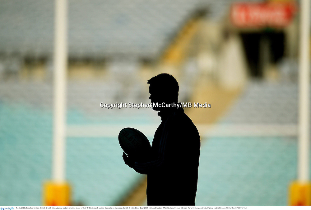 5 July 2013; Jonathan Sexton, British & Irish Lions, during kickers practice ahead of their 3rd test match against Australia on Saturday. British & Irish Lions Tour 2013. Kickers Practice. ANZ Stadium, Sydney Olympic Park, Sydney, Australia. Picture credit: Stephen McCarthy / SPORTSFILE