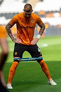 Jordy de Wijs of Hull City warms up ahead of the EFL Sky Bet Championship match between Hull City and Bristol City at the KCOM Stadium, Kingston upon Hull, England on 24 August 2019.