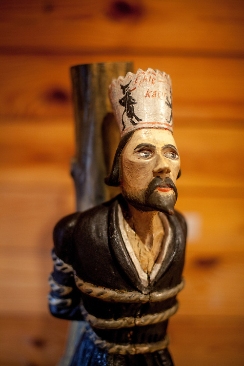 "A wooden sculpture of Jan Hus at the stake exhibited at the house ""Na Sboru"" in Kunvald. The Unitas Fratrum (Brüdergemeine/Moravian Church) was founded in Kunvald in 1457, when followers of the martyred Jan Hus (John Huss) found refuge on the estate of King George of Poděbrady. Kunvald is a village in 5 km north of Žamberk in the Ústí nad Orlicí District, Pardubice Region of the Czech Republic. It has over 1,000 inhabitants."