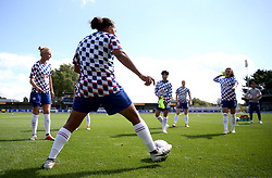 Chelsea players warm up prior to the FA Women's Super League match at Kingsmeadow, London.