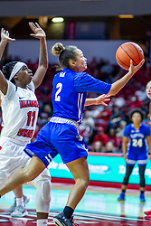 NORMAL, IL - January 03: Sommer Pitzer ducks under Tete Maggett for a lay up during a college women's basketball game between the ISU Redbirds and the Sycamores of Indiana State January 03 2020 at Redbird Arena in Normal, IL. (Photo by Alan Look)