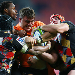 PORT ELIZABETH, SOUTH AFRICA - MAY 27: Facundo Isa of the Jaguares is held up by Steven Sykes (captain) of the Southern Kings during the Super Rugby match between Southern Kings and Jaguares at Nelson Mandela Bay Stadium on May 27, 2016 in Port Elizabeth, South Africa. (Photo by Steve Haag/Gallo Images)