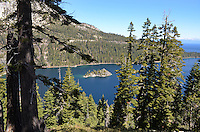 Fannette Island in Emerald Bay, Lake Tahoe, California, USA,  from view point on the scenic Route 89, aka Emerald Bay Road. Fannette is the only island in Lake Tahoe. 201304251794<br /> <br /> Copyright Image from Victor Patterson, 54 Dorchester Park, Belfast, UK, BT9 6RJ<br /> <br /> Tel: +44 28 9066 1296<br /> Mob: +44 7802 353836<br /> Voicemail +44 20 8816 7153<br /> Skype: victorpattersonbelfast<br /> Email: victorpatterson@me.com<br /> Email: victorpatterson@ireland.com (back-up)<br /> <br /> IMPORTANT: If you wish to use this image or any other of my images please go to www.victorpatterson.com and click on the Terms & Conditions. Then contact me by email or phone with the reference number(s) of the image(s) concerned.