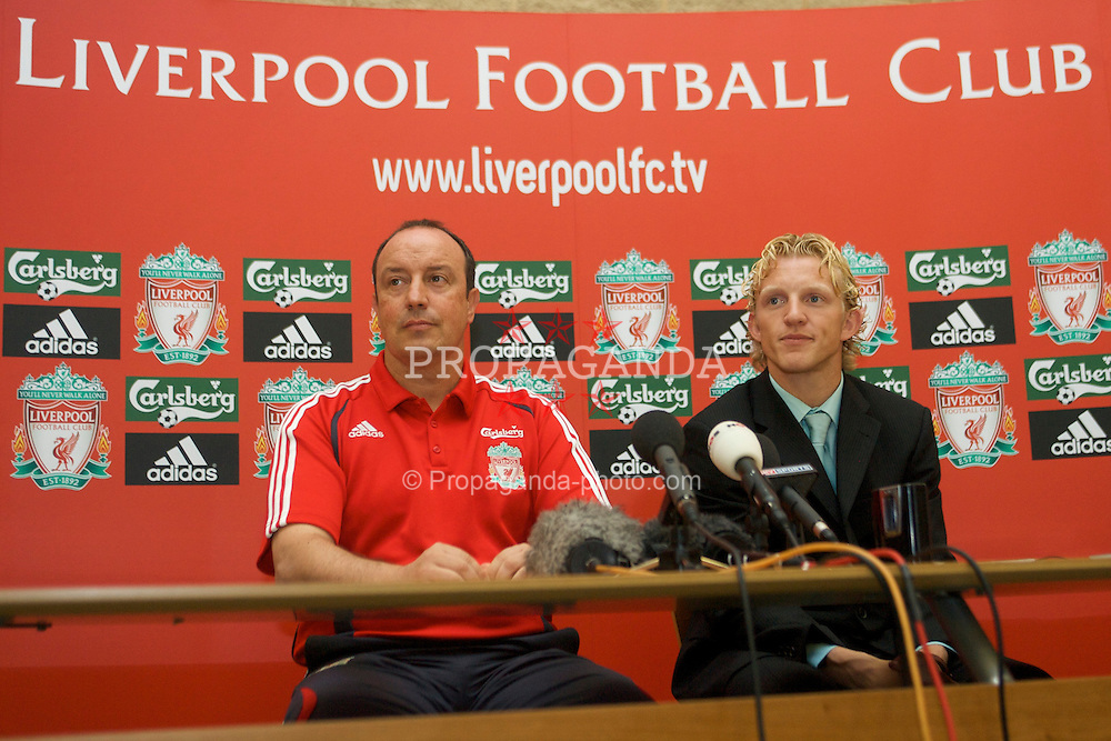 LIVERPOOL, ENGLAND - FRIDAY, AUGUST 18th, 2006: Liverpool's new signing Netherland's striker Dirk Kuyt with manager Rafael Benitez at a press conference at the club's Melwood Training Ground. (Pic by David Rawcliffe/Propaganda)