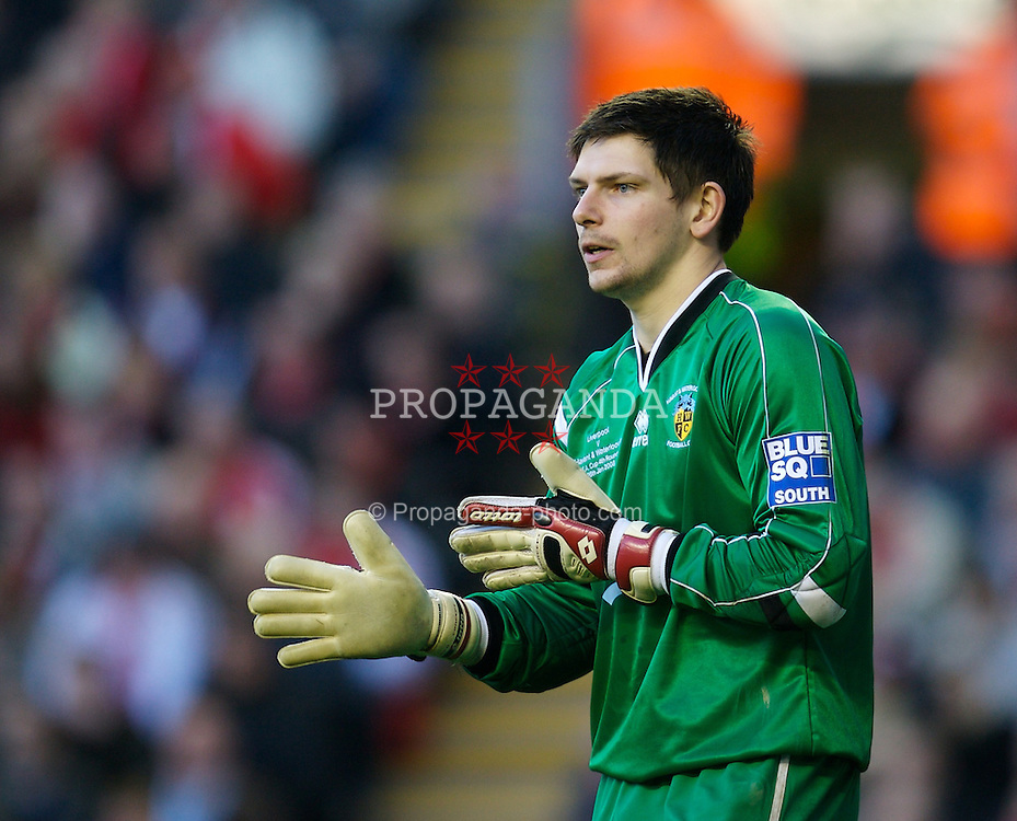 LIVERPOOL, ENGLAND - Saturday, January 26, 2008: Waterlooville's goalkeeper Kevin Scriven in action against Liverpool during the FA Cup 4th Round match at Anfield. (Photo by David Rawcliffe/Propaganda)