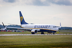 © Licensed to London News Pictures. 10/08/2018. Leeds UK. A Ryanair jet at Leeds Bradford airport this morning. Ryanair pilots are striking in five European countries today forcing the cancellation of a sixth of the firms flights during the holiday season peak. the 24-hour walk out involves staff in Germany, Sweden, Ireland & the Netherlands. About 50,000 passengers are understood to have been told of cancellations on 400 flights. Photo credit: Andrew McCaren/LNP
