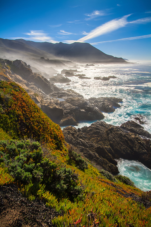 The Big Sur coastline in Central California is one of the most scenic drives you can take.  The rocky outcrops and overlooking vantage points allow for some great views.