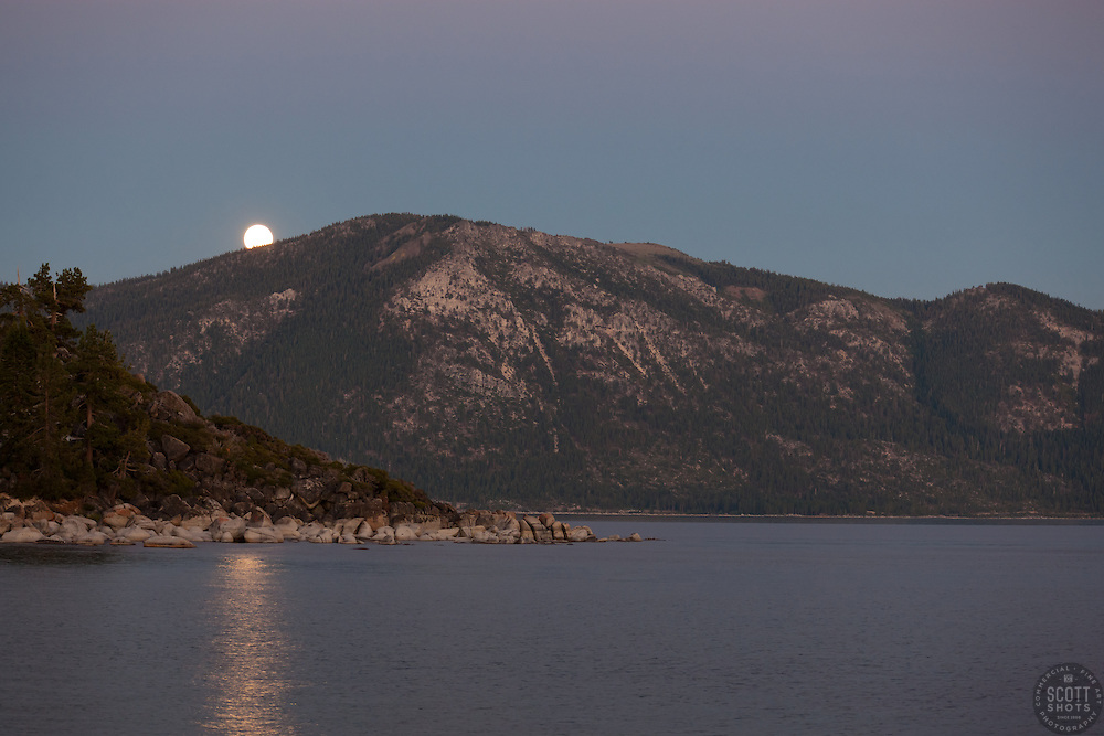 """Full Moon over Lake Tahoe 4"" - This rising full moon was photographed at sunset from Speed Boat Beach, Lake Tahoe."