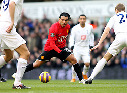 LONDON, ENGLAND - Saturday, February 2, 2008: Manchester United's Carlos Tevez finds no way through against Tottenham Hotspur  during the Premiership match at White Hart Lane. (Photo by Chris Ratcliffe/Propaganda)