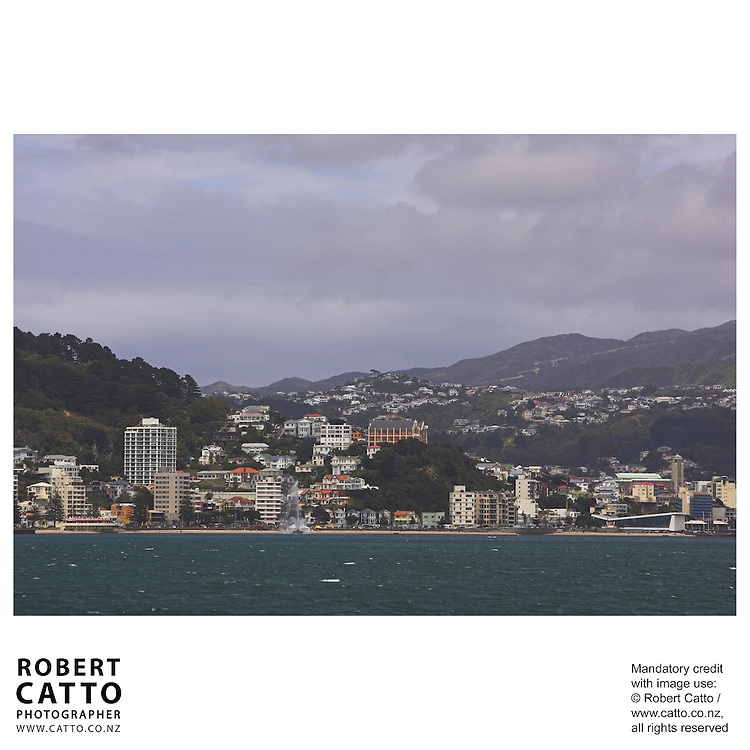 Oriental Bay, with band rotunda, fountain, St Gerard's Monastery and Freyberg Pool seen from Lambton Harbour, Wellington, New Zealand.<br />