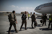 16th BC French unit soldiers board on their plane to go back to France, on September 29, 2012 in KAIA airport in Kabul. AFP PHOTO / JEFF PACHOUD
