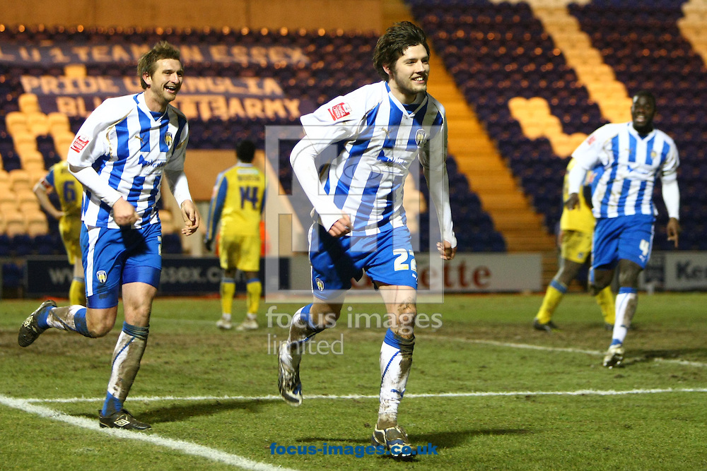 Colchester - Monday February 8th, 2010: Anthony Wordsworth scores his and Colchester's 2nd goal and celebrates during the Coca Cola League One match at the Weston Homes Community Stadium, Colchester. (Pic by Paul Chesterton/Focus Images)