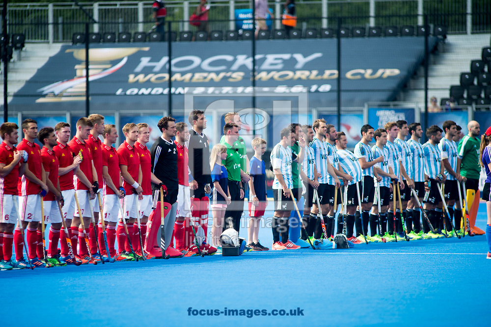 England and Argentina during a minutes silence on day four of the Men's Hero Hockey World League Semi-Finals at Lee Valley Hockey Centre, Stratford<br /> Picture by Hannah Fountain/Focus Images Ltd 07814482222<br /> 18/06/2017