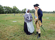 "SHANNAH08P<br /> Euell Aira Nielsen (left) of Lansdowne, Pennsylvania, portraying Hannah Till, speaks with Samuel Davis (right) of Chesterfield, New Jersey portraying George Washington during a dedication ceremony honoring Hannah Till Saturday October 3, 2015 at Eden Cemetery in Collingdale, Pennsylvania. Hannah Till, a free black woman and unsung hero of the Revolutionary War who worked for Gens. George Washington and Lafayette is being honored as a ""Patriot"" by the Daughters of the American Revolution with a special ceremony and headstone dedication at Eden Cemetery, a historically-black cemetery in Collingdale. (William Thomas Cain/For The Inquirer)"
